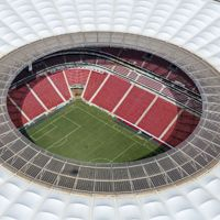 Brasilia: Trybuny mokre, dach narodowego stadionu przecieka