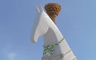 Nowy stadion: 600-tonowa końska głowa