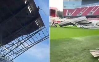 Belgia: Silny wiatr zerwał fragment dachu stadionu Bosuil